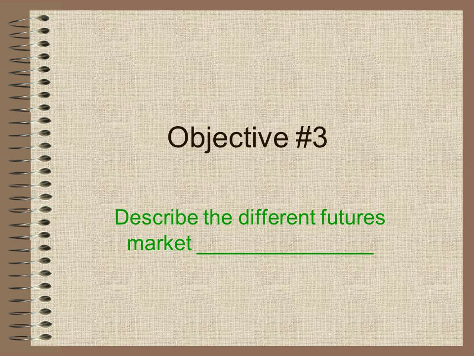 Objective 2 Define a Futures contract Standardized Terms