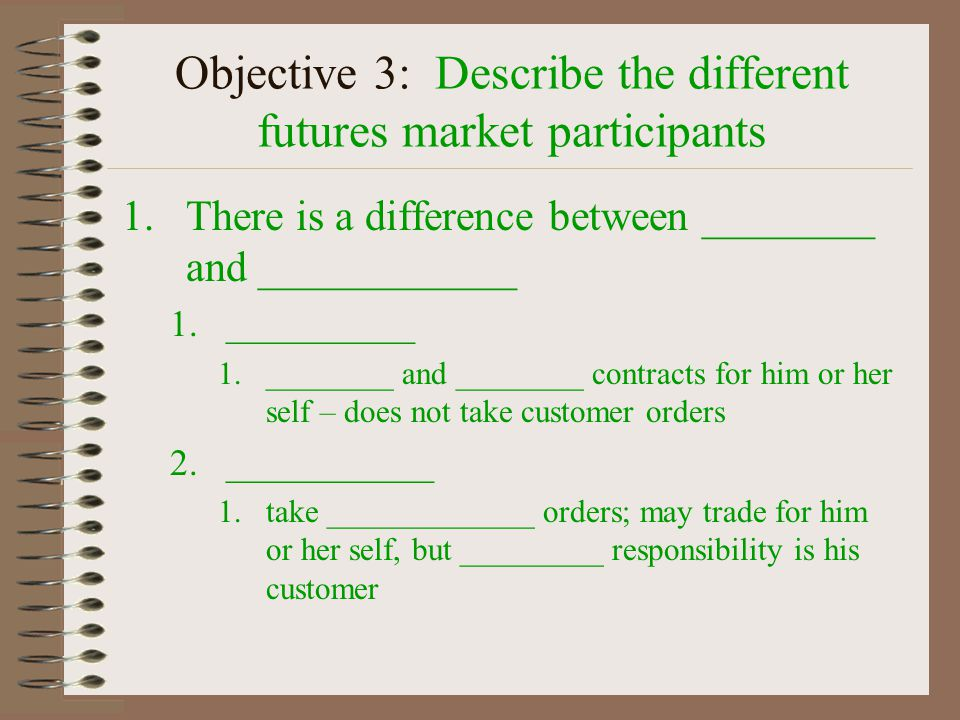 Objective #3 Describe the different futures market _______________