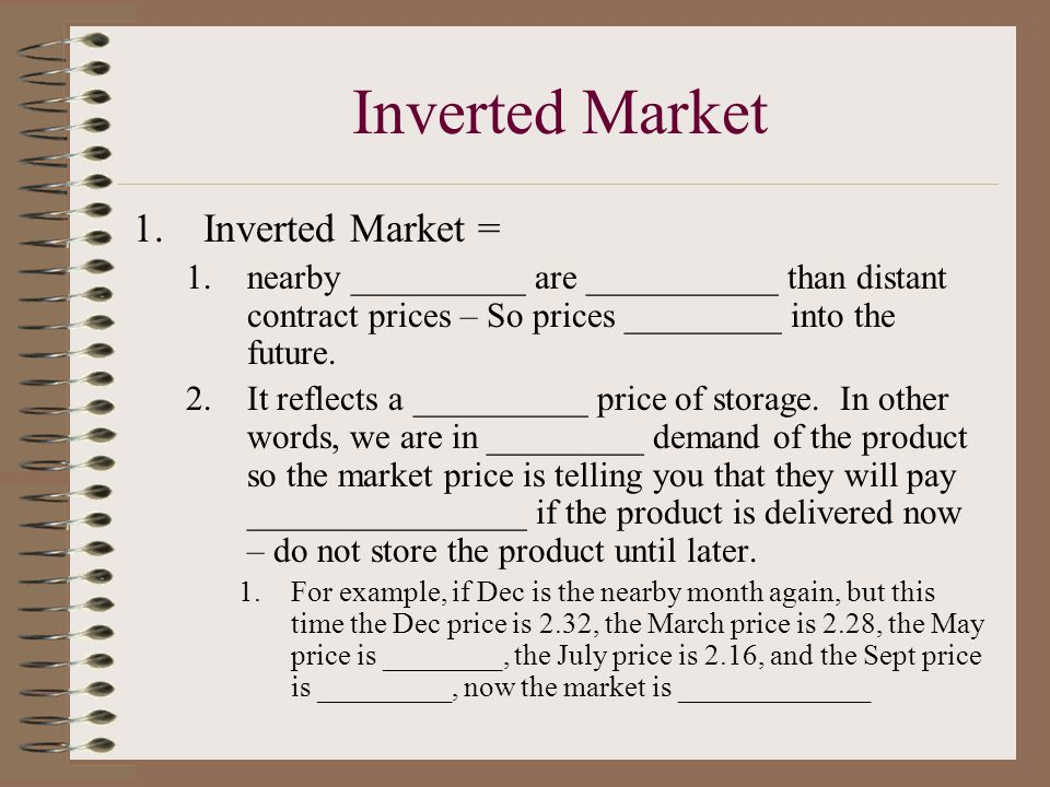 Normal Market 1.____________ ____________ = is ____________ price is lower than the ____________ contract price – so prices increase into the future.