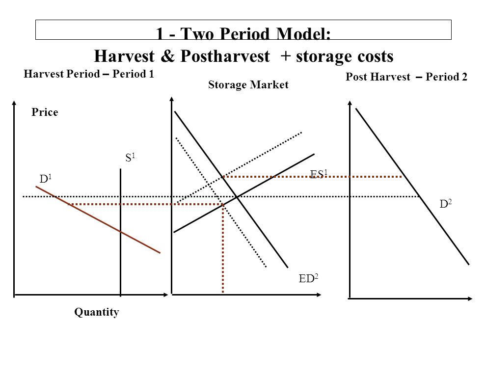 1 - Two Period Model: Harvest & Postharvest + storage costs Harvest Period – Period 1 Post Harvest – Period 2 Quantity S1S1 D1D1 Price D2D2 ES 1 ED 2 Storage Market