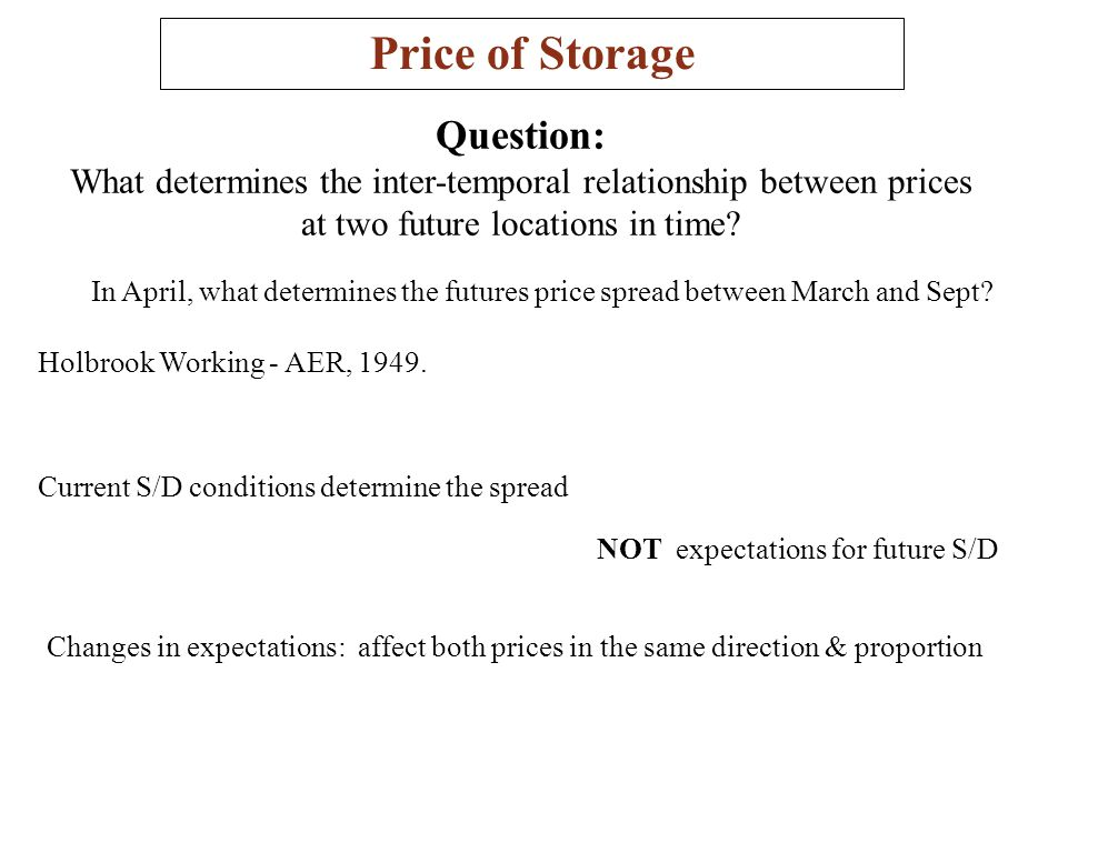 Price of Storage Question: What determines the inter-temporal relationship between prices at two future locations in time? In April, what determines t