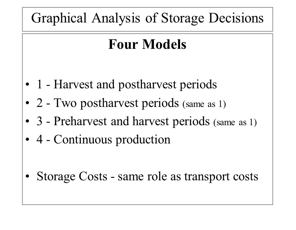 Graphical Analysis of Storage Decisions Four Models 1 - Harvest and postharvest periods 2 - Two postharvest periods (same as 1) 3 - Preharvest and harvest periods (same as 1) 4 - Continuous production Storage Costs - same role as transport costs