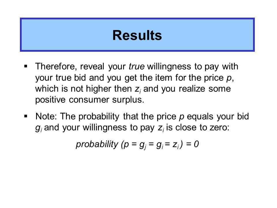 Results If person i has the highest evaluation To higher the price over z i doesn´t gain any advantage.