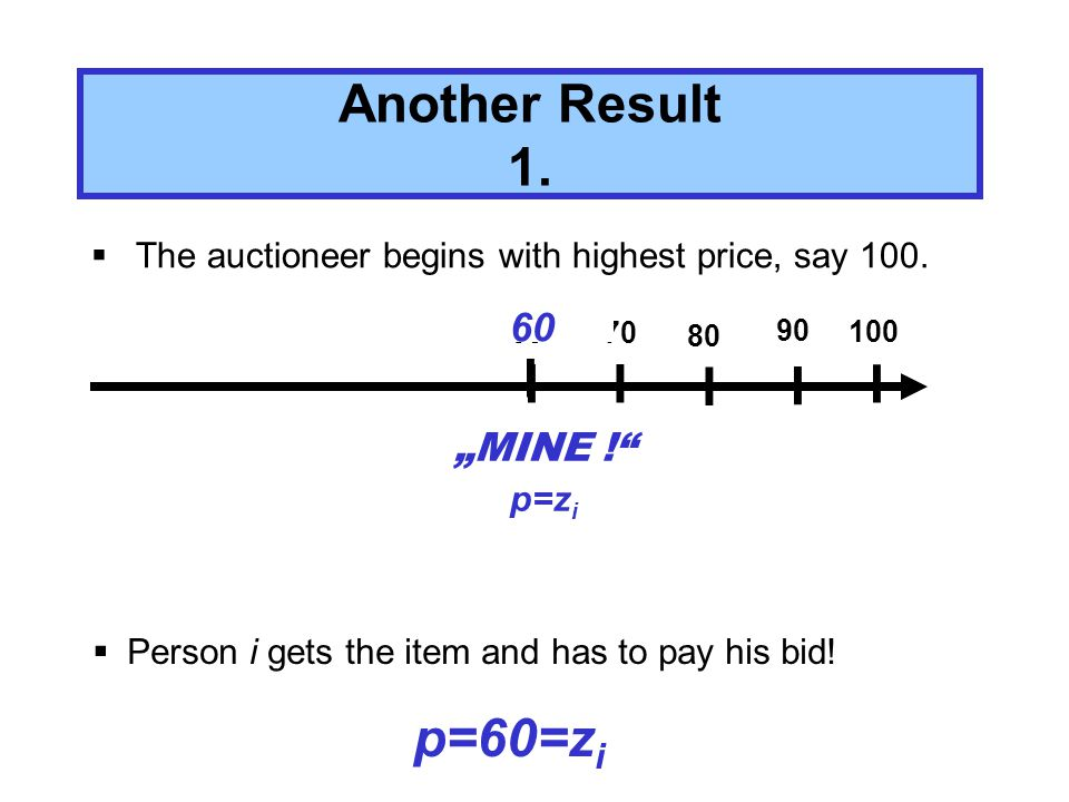 First price auction is equal to an Dutch auction The auctioneer starts with a high price and lowers the price successively until the first bidder rises his finger.