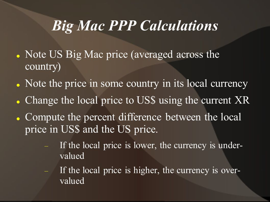 Big Mac PPP Calculations Note US Big Mac price (averaged across the country) Note the price in some country in its local currency Change the local price to US$ using the current XR Compute the percent difference between the local price in US$ and the US price.
