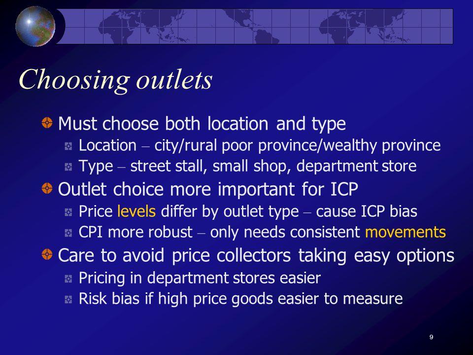 10 Informal markets Sampling frames may exclude informal outlets e.g.