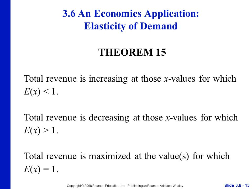 Slide 3.6 - 13 Copyright © 2008 Pearson Education, Inc. Publishing as Pearson Addison-Wesley THEOREM 15 Total revenue is increasing at those x-values