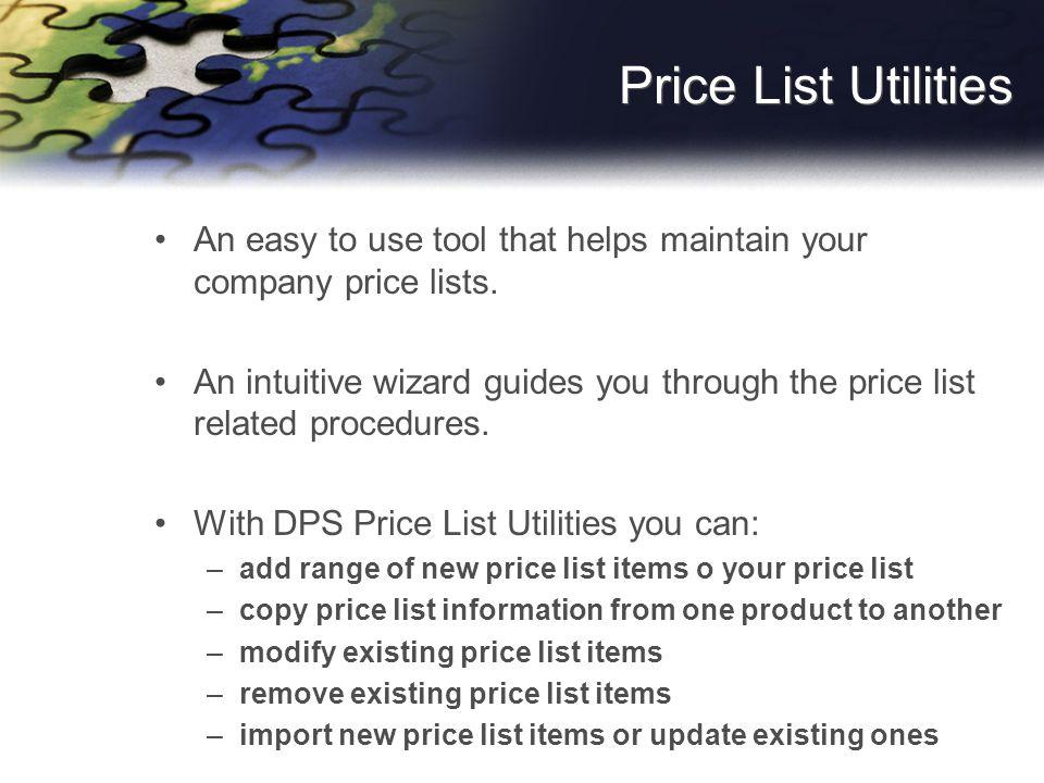 Add Price List Wizard