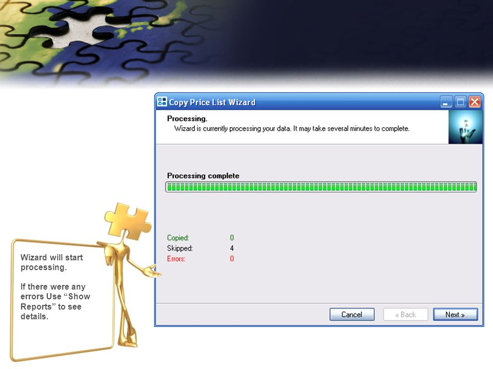 Wizard will start processing. If there were any errors Use Show Reports to see details.