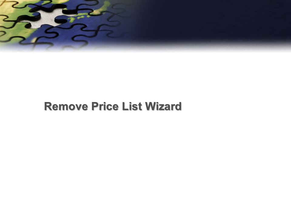 Remove Price List Wizard