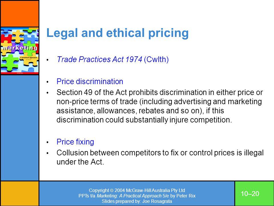 Copyright 2004 McGraw-Hill Australia Pty Ltd PPTs t/a Marketing: A Practical Approach 5/e by Peter Rix Slides prepared by: Joe Rosagrata 10–20 Legal a