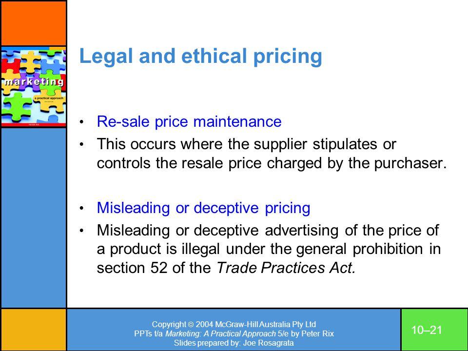 Copyright 2004 McGraw-Hill Australia Pty Ltd PPTs t/a Marketing: A Practical Approach 5/e by Peter Rix Slides prepared by: Joe Rosagrata 10–21 Legal a