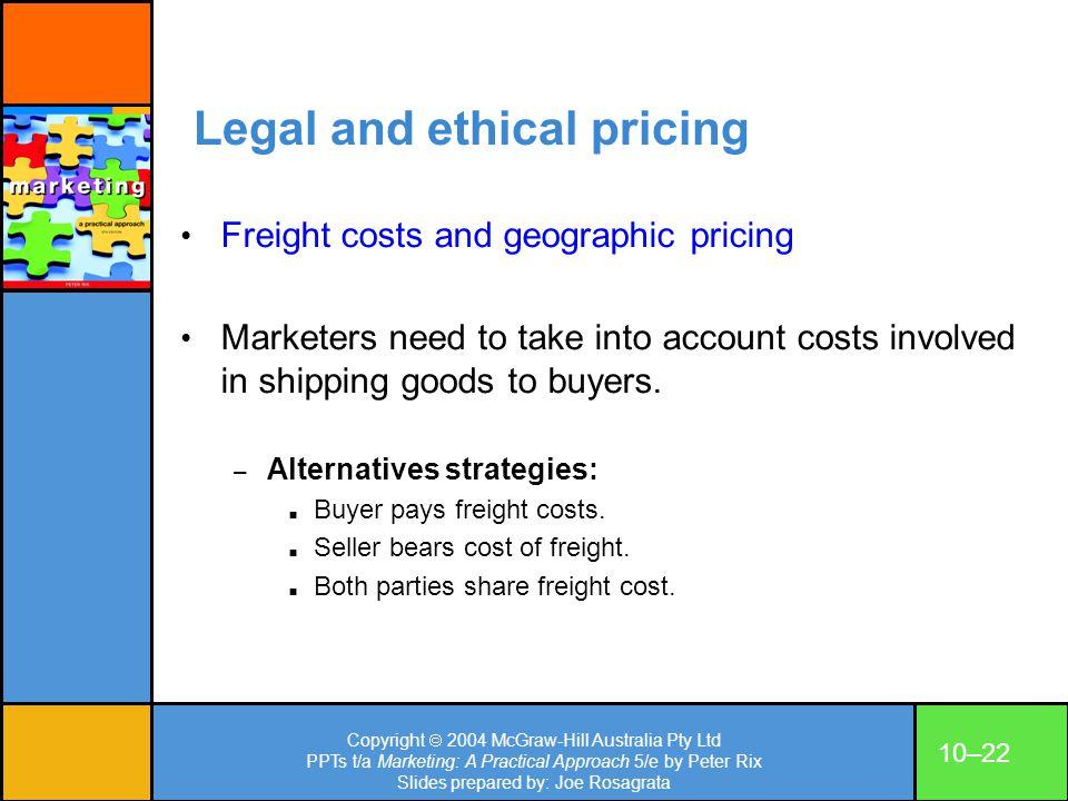 Copyright 2004 McGraw-Hill Australia Pty Ltd PPTs t/a Marketing: A Practical Approach 5/e by Peter Rix Slides prepared by: Joe Rosagrata 10–22 Legal a