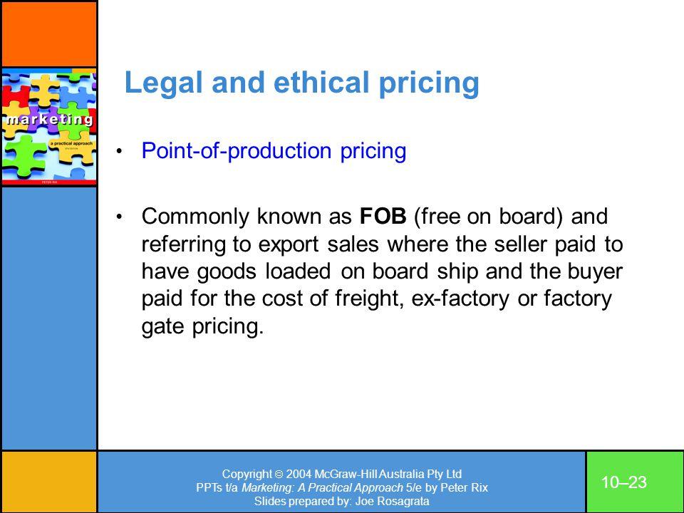 Copyright 2004 McGraw-Hill Australia Pty Ltd PPTs t/a Marketing: A Practical Approach 5/e by Peter Rix Slides prepared by: Joe Rosagrata 10–23 Legal a