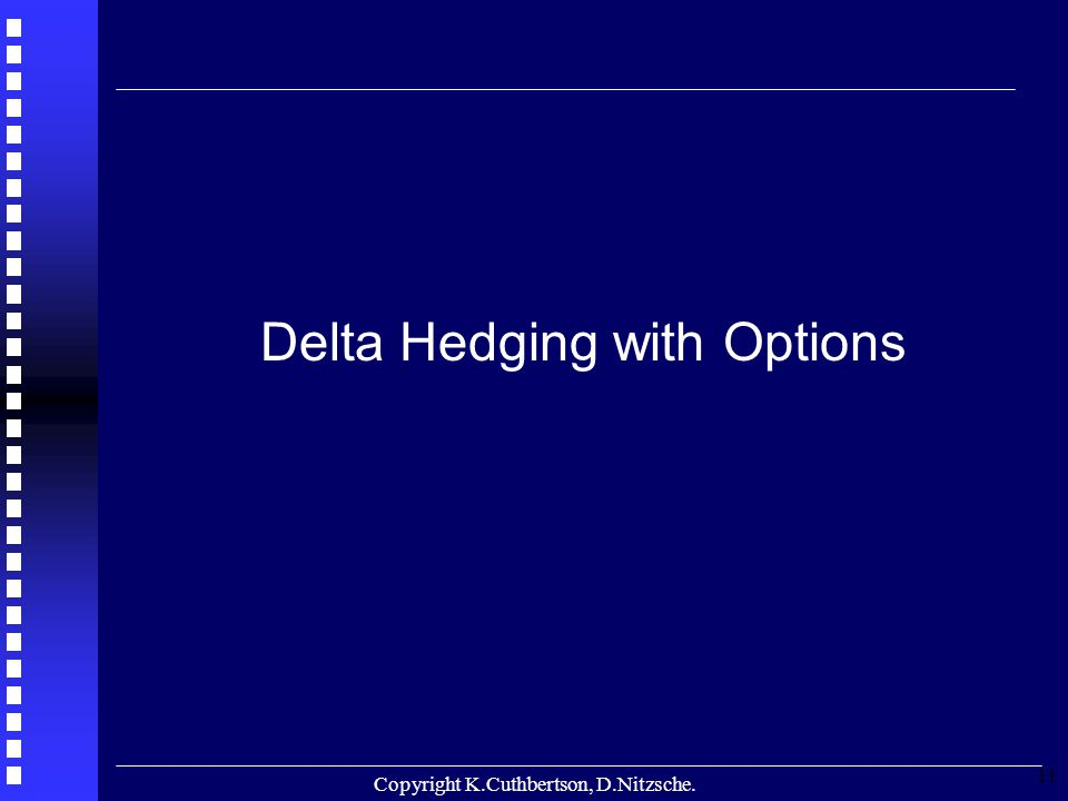 Copyright K.Cuthbertson, D.Nitzsche. 11 Delta Hedging with Options