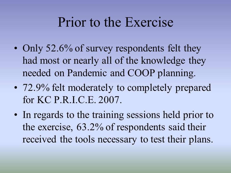 Prior to the Exercise Only 52.6% of survey respondents felt they had most or nearly all of the knowledge they needed on Pandemic and COOP planning. 72