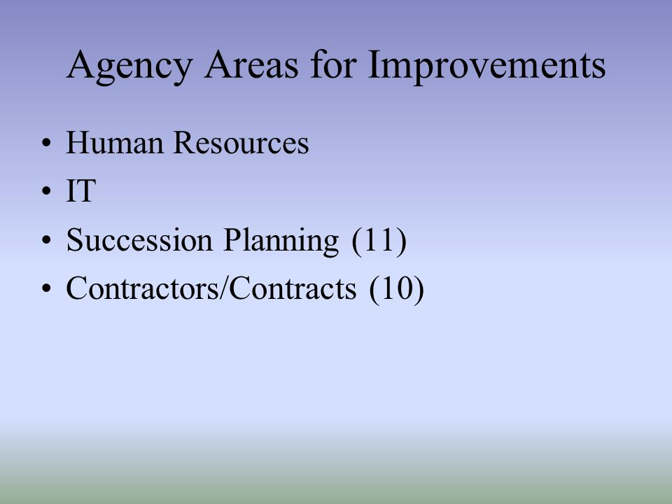 Agency Areas for Improvements Human Resources IT Succession Planning (11) Contractors/Contracts (10)