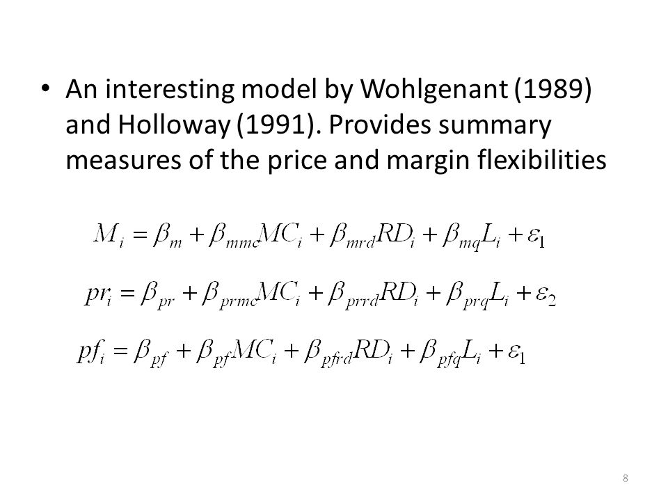 An interesting model by Wohlgenant (1989) and Holloway (1991).