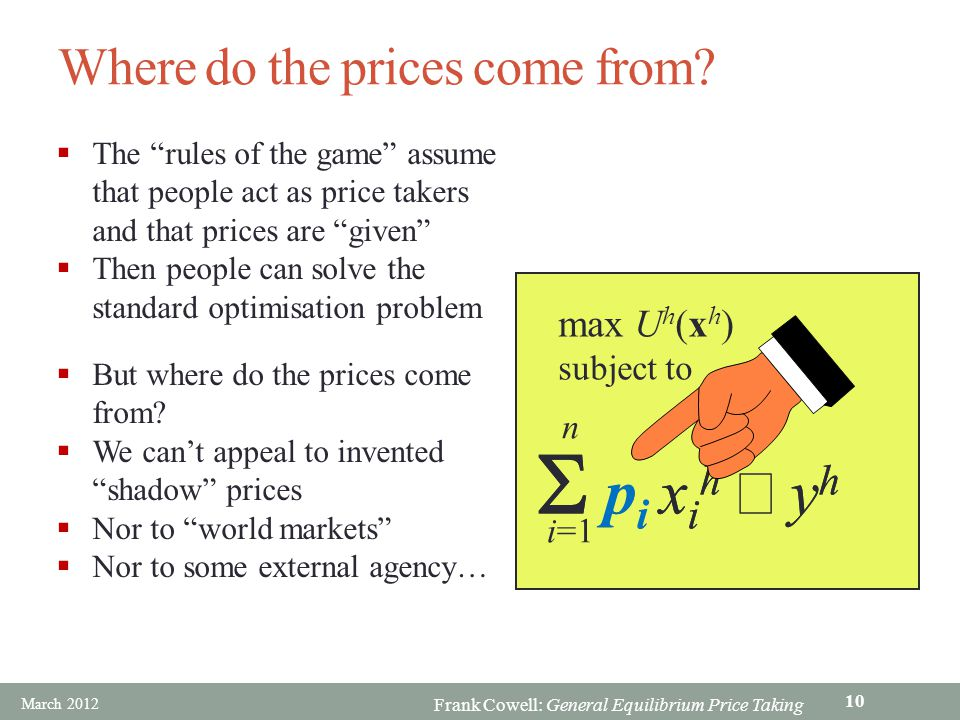 Frank Cowell: General Equilibrium Price Taking Where do the prices come from? p i x i h y h n i=1 max U h (x h ) subject to p i x i h y h The rules of