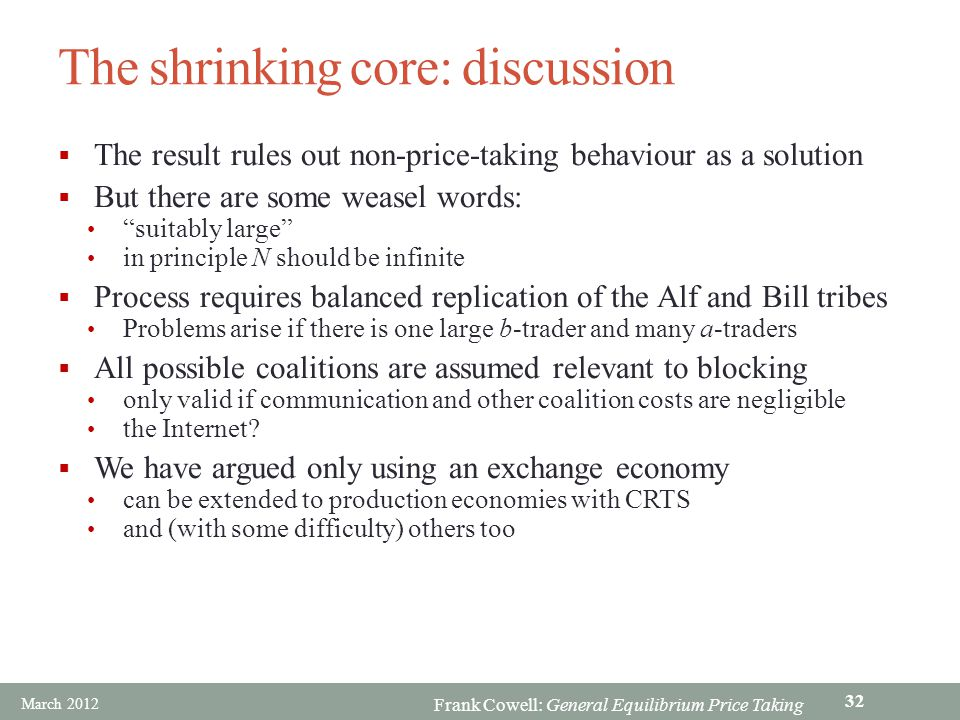 Frank Cowell: General Equilibrium Price Taking The shrinking core: discussion The result rules out non-price-taking behaviour as a solution But there