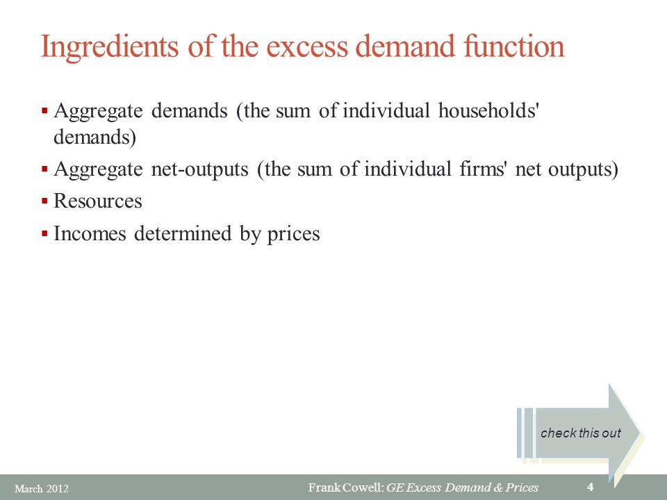 Frank Cowell: GE Excess Demand & Prices Ingredients of the excess demand function Aggregate demands (the sum of individual households demands) Aggregate net-outputs (the sum of individual firms net outputs) Resources Incomes determined by prices check this out March 2012 4