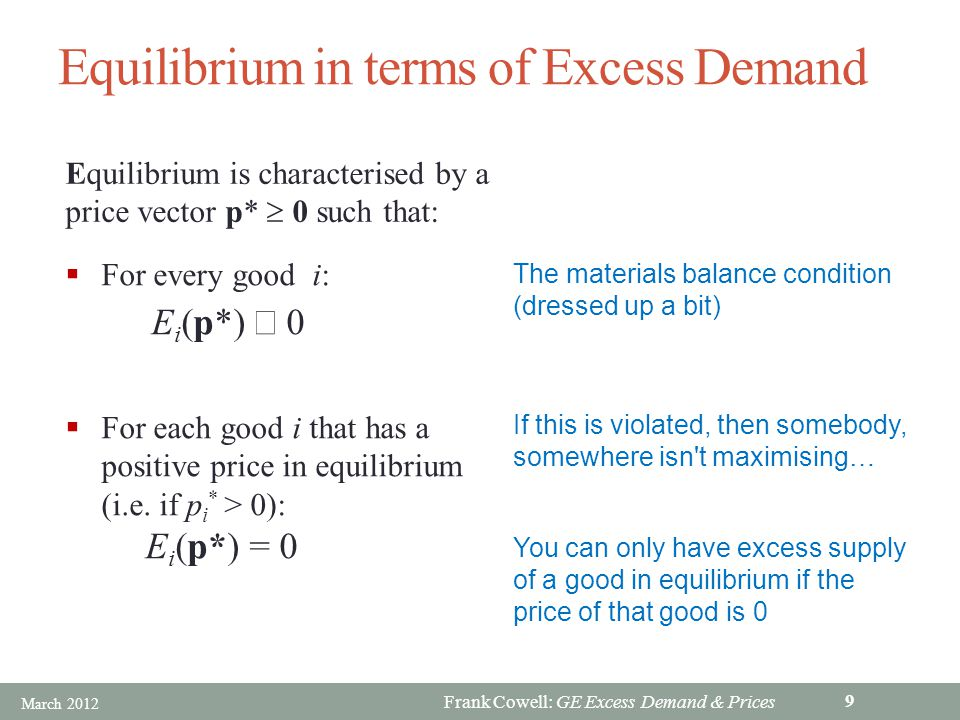 Frank Cowell: GE Excess Demand & Prices Overview… Excess Demand Functions Equilibrium Issues Prices and Decentralisation General Equilibrium: Excess Demand+ Is there just one p *.