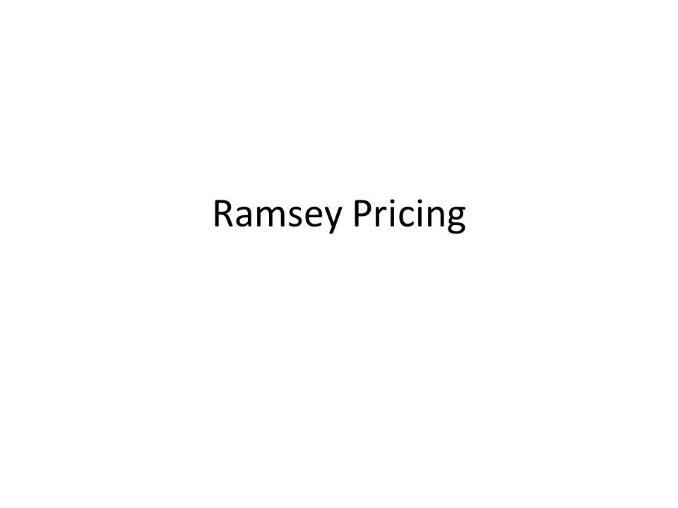 Ramsey Pricing