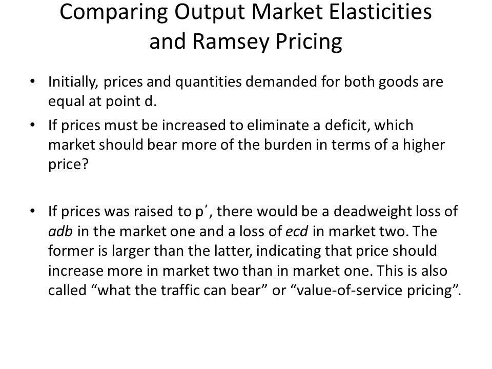 Initially, prices and quantities demanded for both goods are equal at point d.