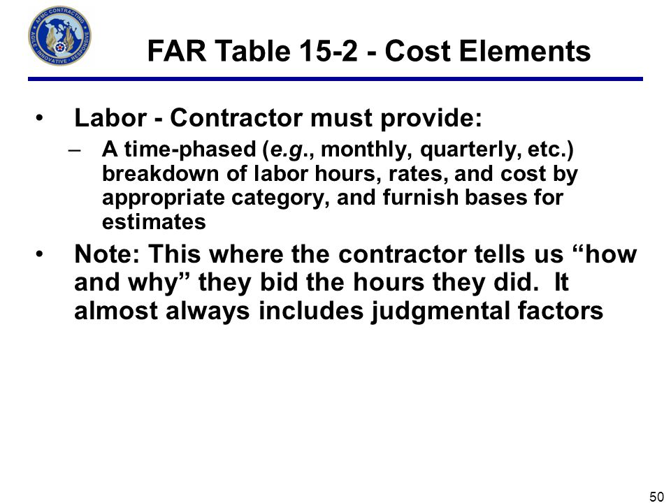 Labor - Contractor must provide: –A time-phased (e.g., monthly, quarterly, etc.) breakdown of labor hours, rates, and cost by appropriate category, and furnish bases for estimates Note: This where the contractor tells us how and why they bid the hours they did.