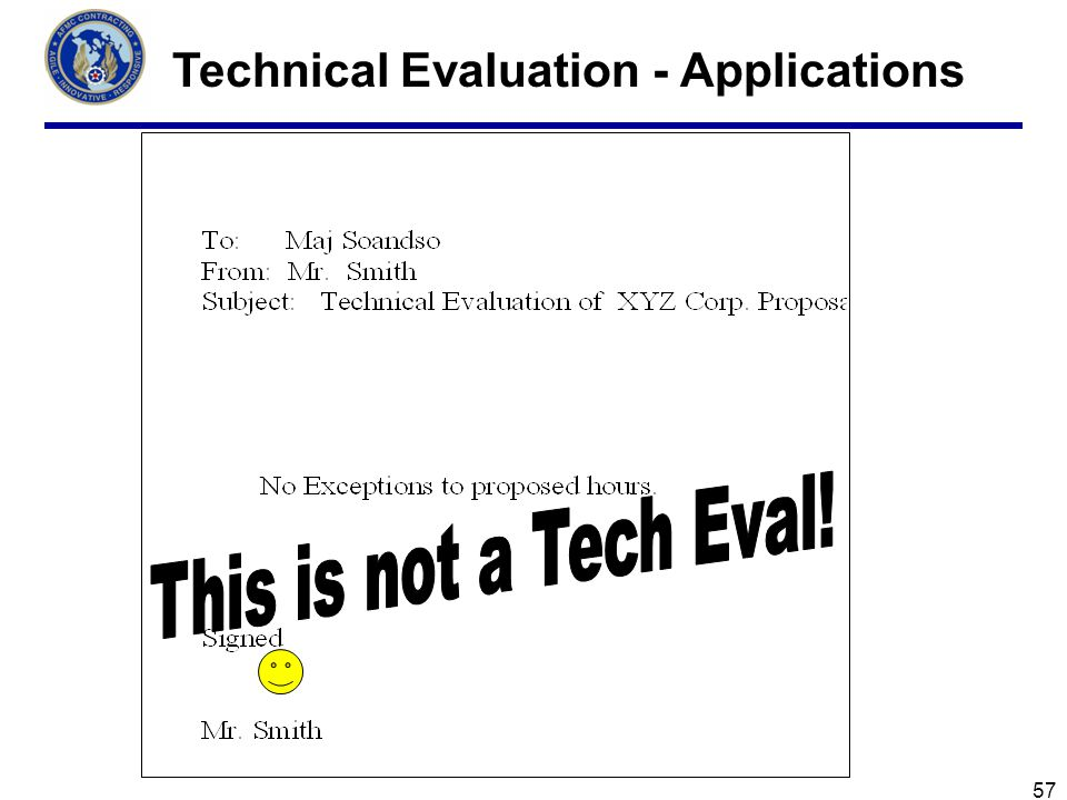 57 Technical Evaluation - Applications