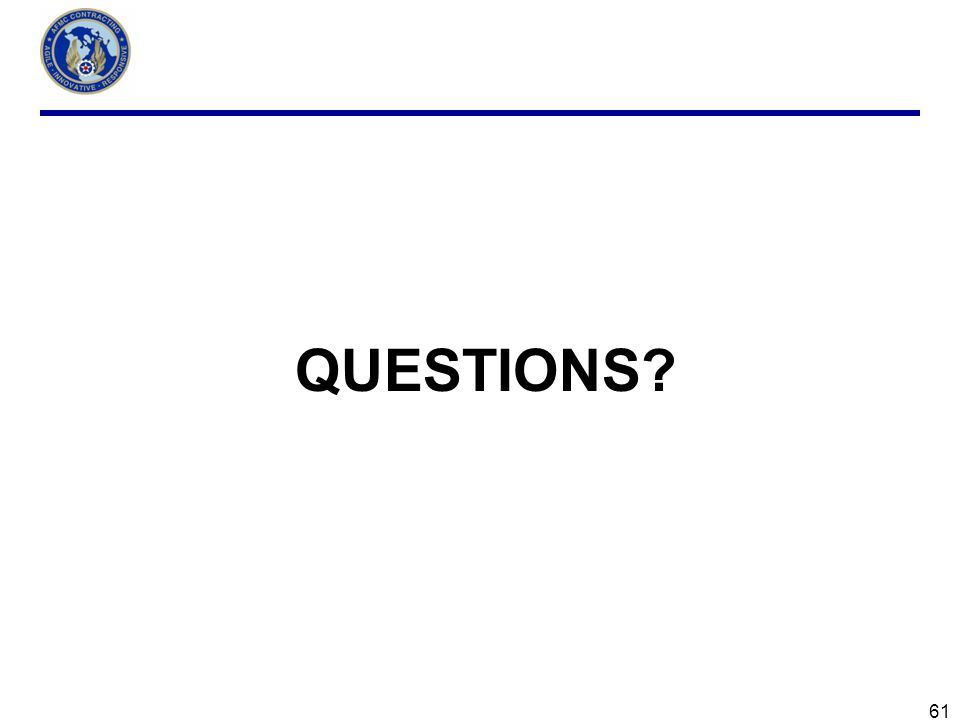 61 QUESTIONS?