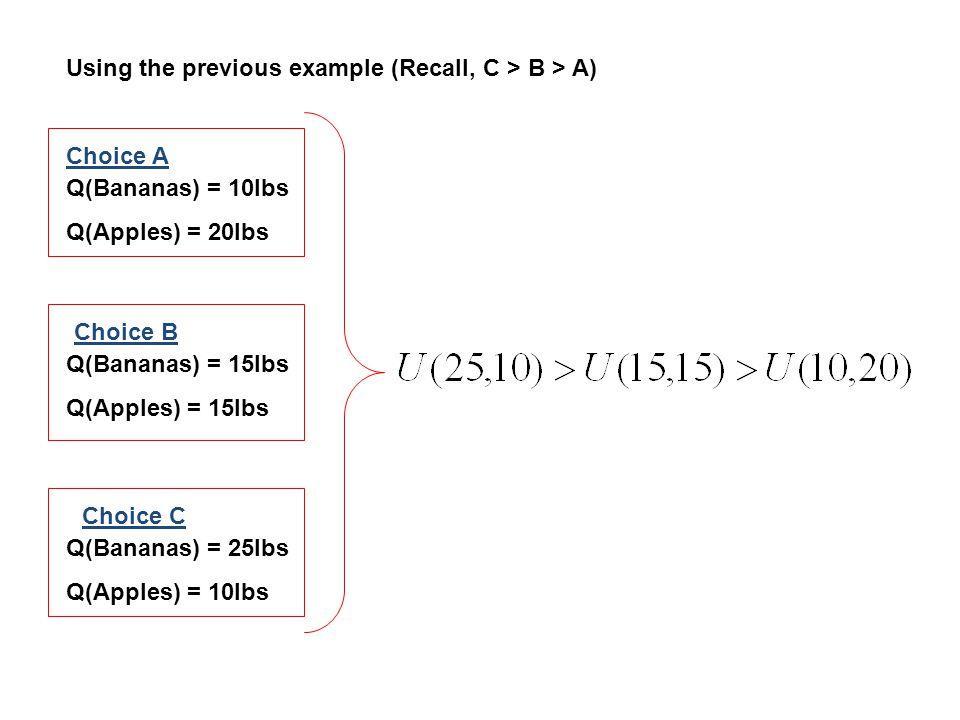 Q(Bananas) = 25lbs Q(Apples) = 10lbs Q(Bananas) = 10lbs Q(Apples) = 20lbs Q(Bananas) = 15lbs Q(Apples) = 15lbs Choice C Choice A Choice B Using the pr