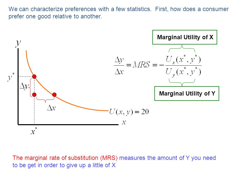 We can characterize preferences with a few statistics. First, how does a consumer prefer one good relative to another. Marginal Utility of Y Marginal