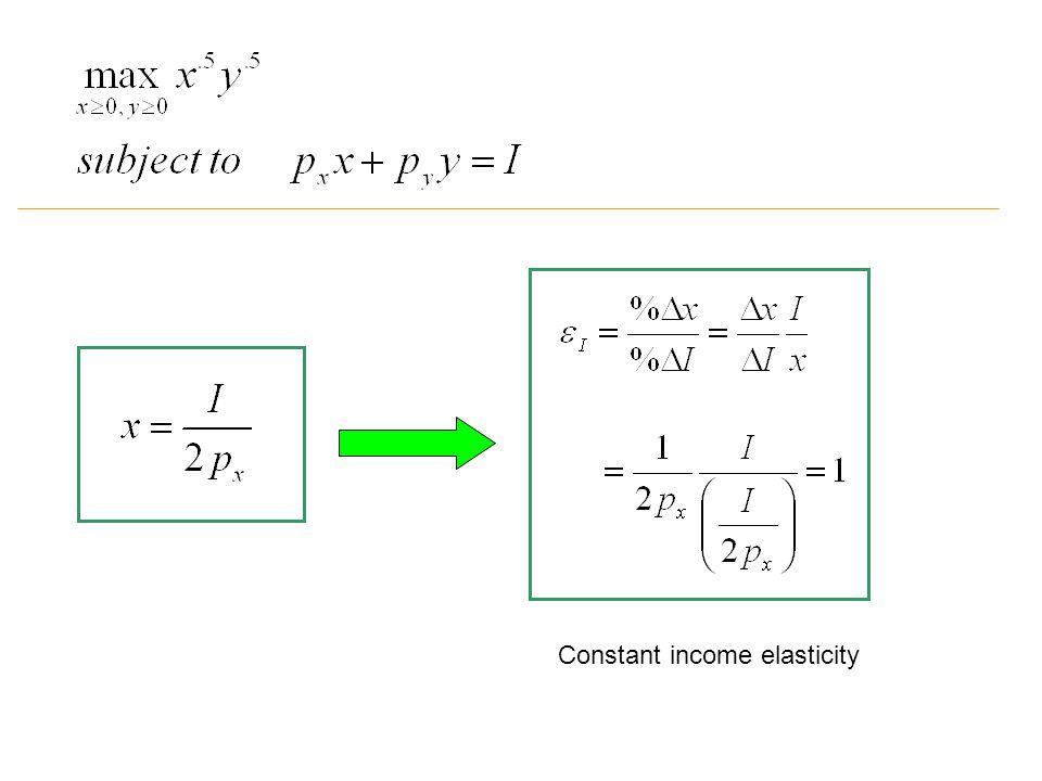 Constant income elasticity