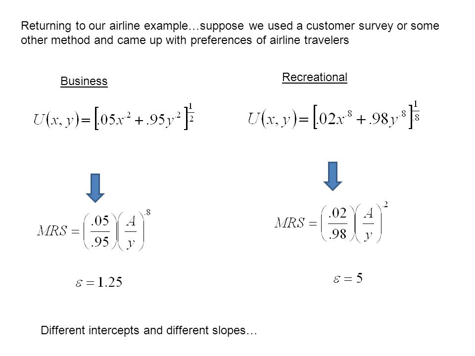 Returning to our airline example…suppose we used a customer survey or some other method and came up with preferences of airline travelers Business Rec