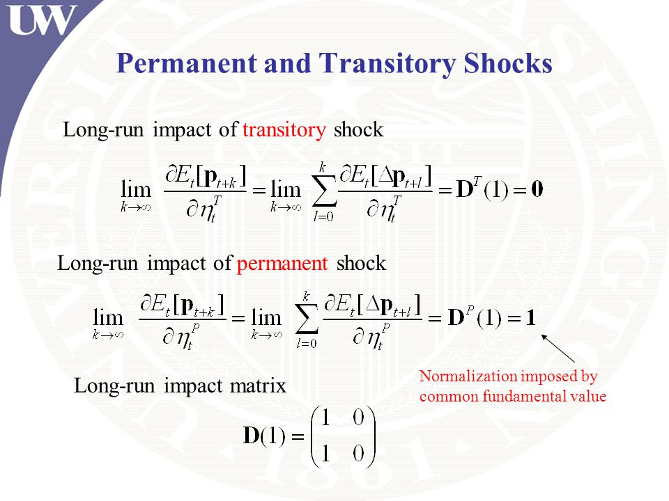 Permanent and Transitory Shocks Long-run impact of transitory shock Long-run impact of permanent shock Long-run impact matrix Normalization imposed by