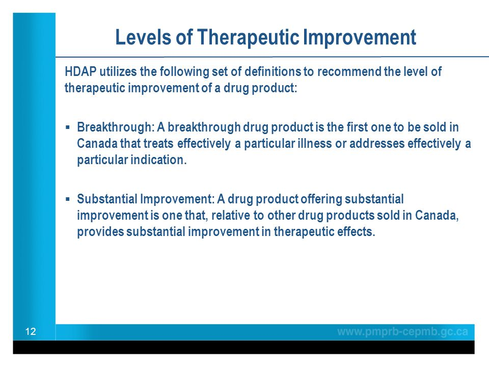 Levels of Therapeutic Improvement HDAP utilizes the following set of definitions to recommend the level of therapeutic improvement of a drug product: Breakthrough: A breakthrough drug product is the first one to be sold in Canada that treats effectively a particular illness or addresses effectively a particular indication.
