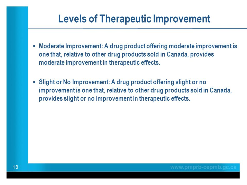 Levels of Therapeutic Improvement Moderate Improvement: A drug product offering moderate improvement is one that, relative to other drug products sold in Canada, provides moderate improvement in therapeutic effects.
