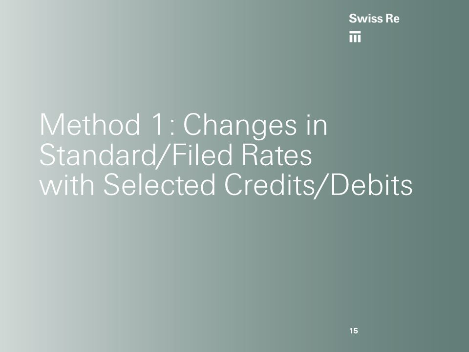 Method 1: Changes in Standard/Filed Rates with Selected Credits/Debits 15