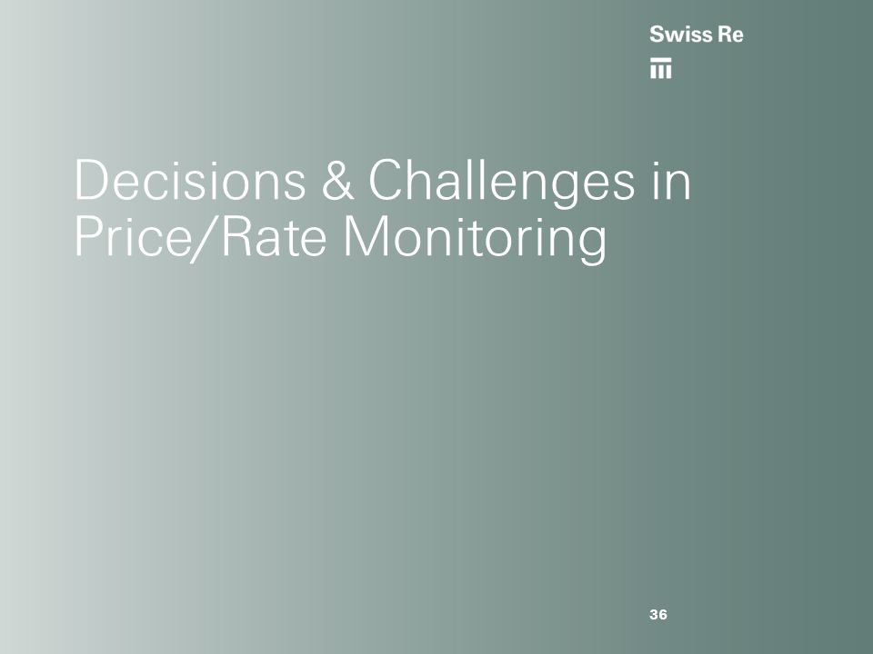 Decisions & Challenges in Price/Rate Monitoring 36