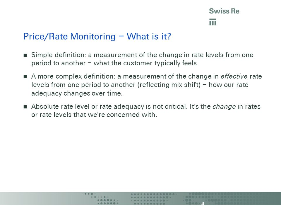 4 Price/Rate Monitoring – What is it.