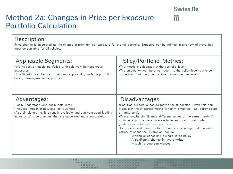 Method 2a: Changes in Price per Exposure - Portfolio Calculation Description: Applicable Segments: Policy/Portfolio Metrics: Advantages: Disadvantages: The metric is calculated at the portfolio level.