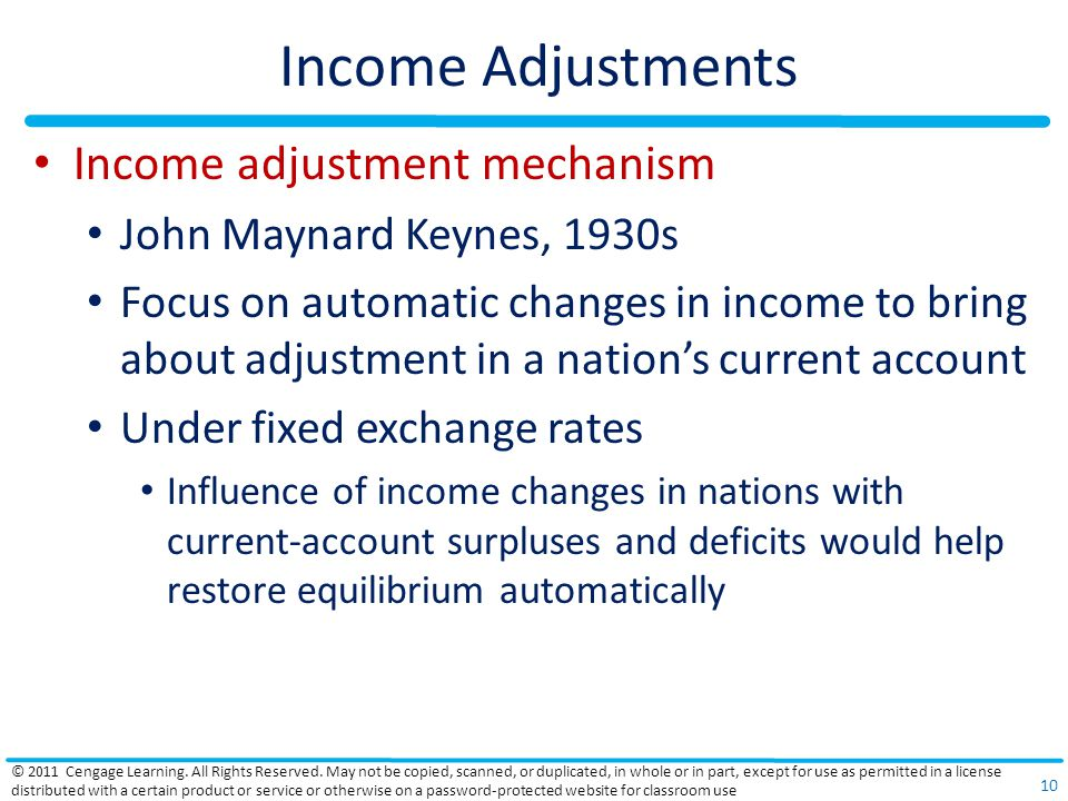 Income Adjustments Income adjustment mechanism John Maynard Keynes, 1930s Focus on automatic changes in income to bring about adjustment in a nations current account Under fixed exchange rates Influence of income changes in nations with current-account surpluses and deficits would help restore equilibrium automatically © 2011 Cengage Learning.