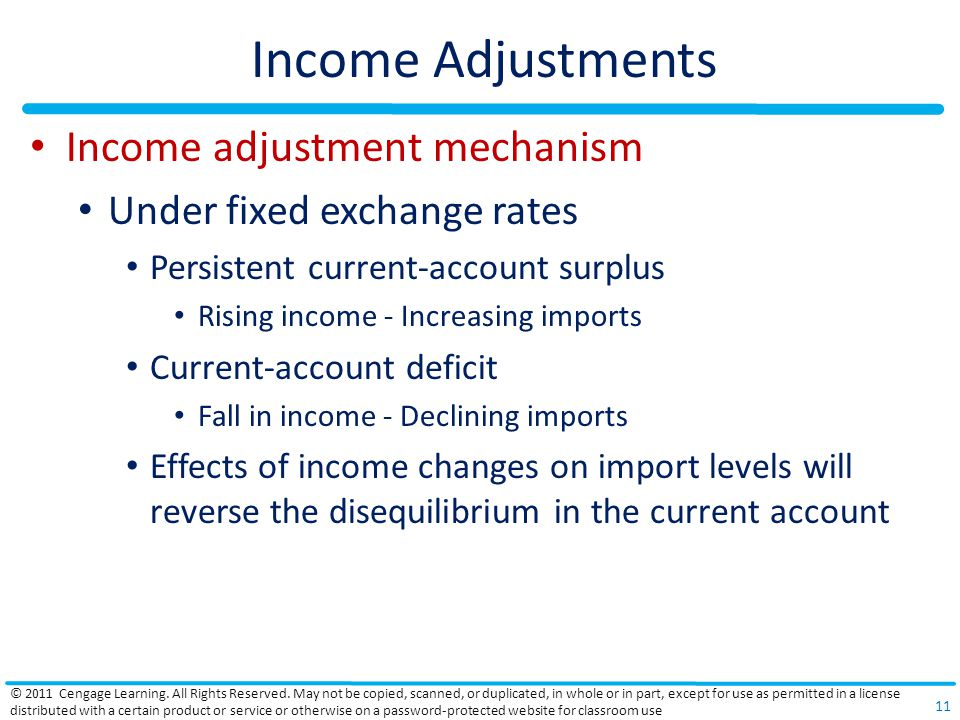 Income Adjustments Income adjustment mechanism Under fixed exchange rates Persistent current-account surplus Rising income - Increasing imports Current-account deficit Fall in income - Declining imports Effects of income changes on import levels will reverse the disequilibrium in the current account © 2011 Cengage Learning.