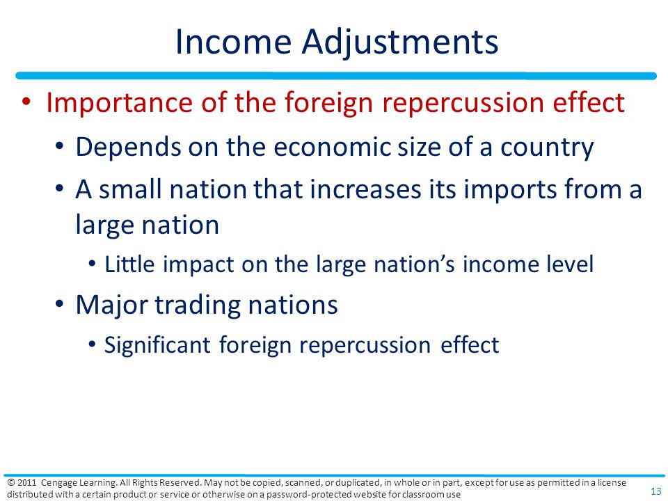 Income Adjustments Importance of the foreign repercussion effect Depends on the economic size of a country A small nation that increases its imports from a large nation Little impact on the large nations income level Major trading nations Significant foreign repercussion effect © 2011 Cengage Learning.