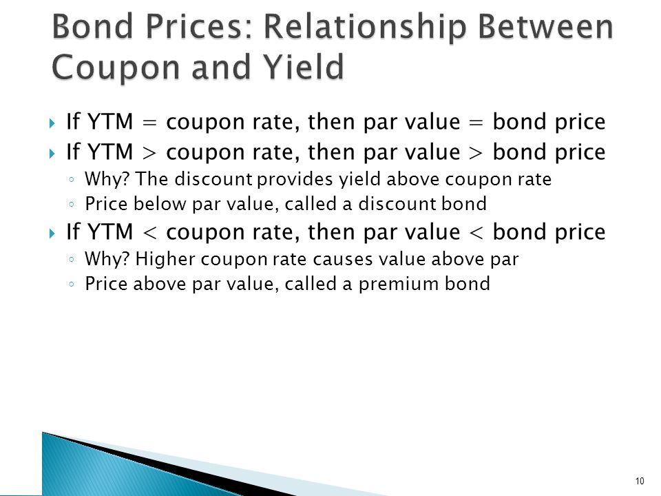 If YTM = coupon rate, then par value = bond price If YTM > coupon rate, then par value > bond price Why? The discount provides yield above coupon rate