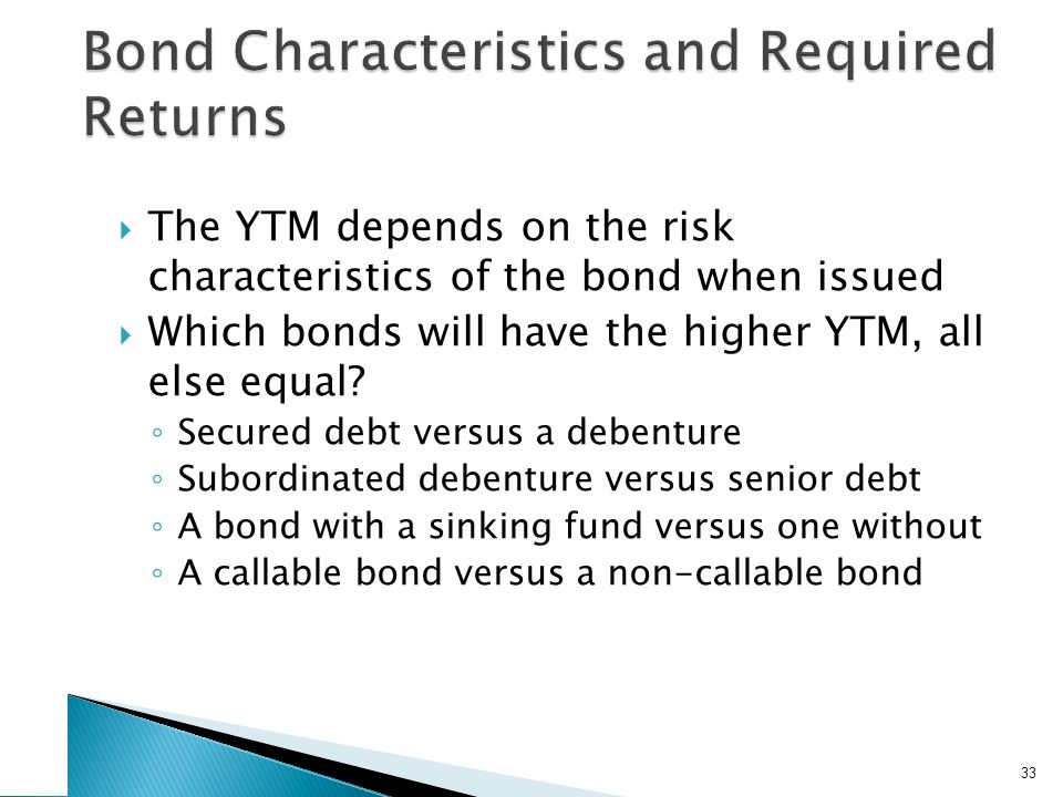 The YTM depends on the risk characteristics of the bond when issued Which bonds will have the higher YTM, all else equal.