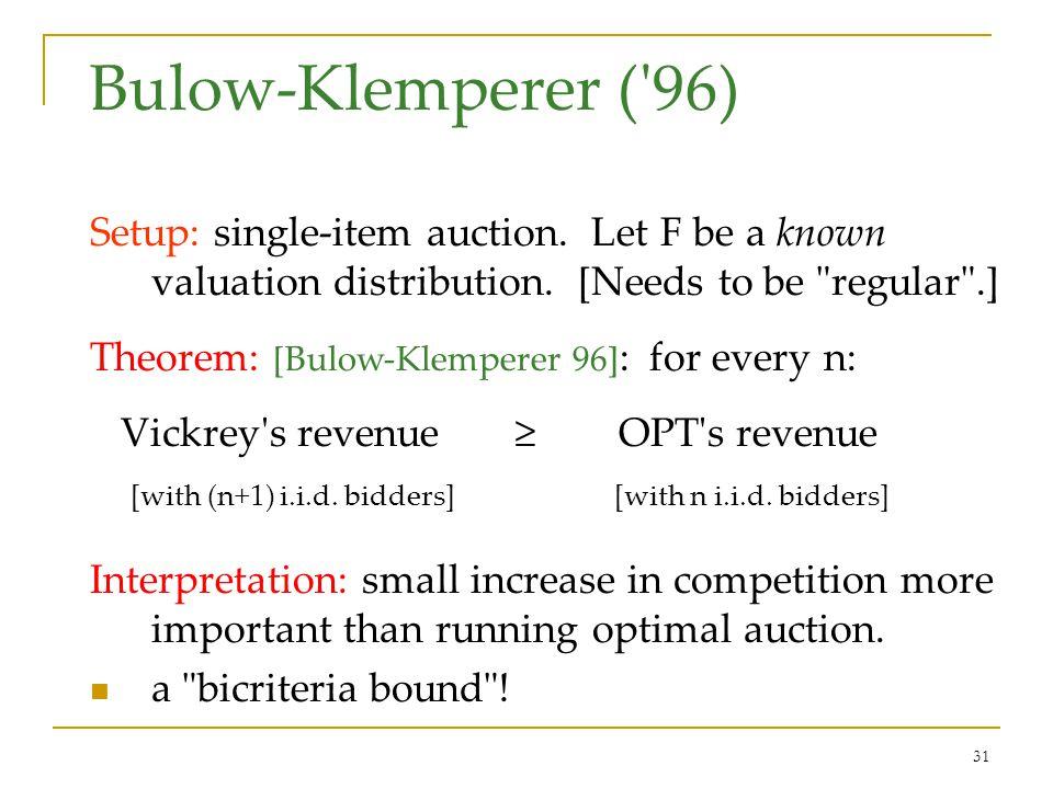 31 Bulow-Klemperer ( 96) Setup: single-item auction.