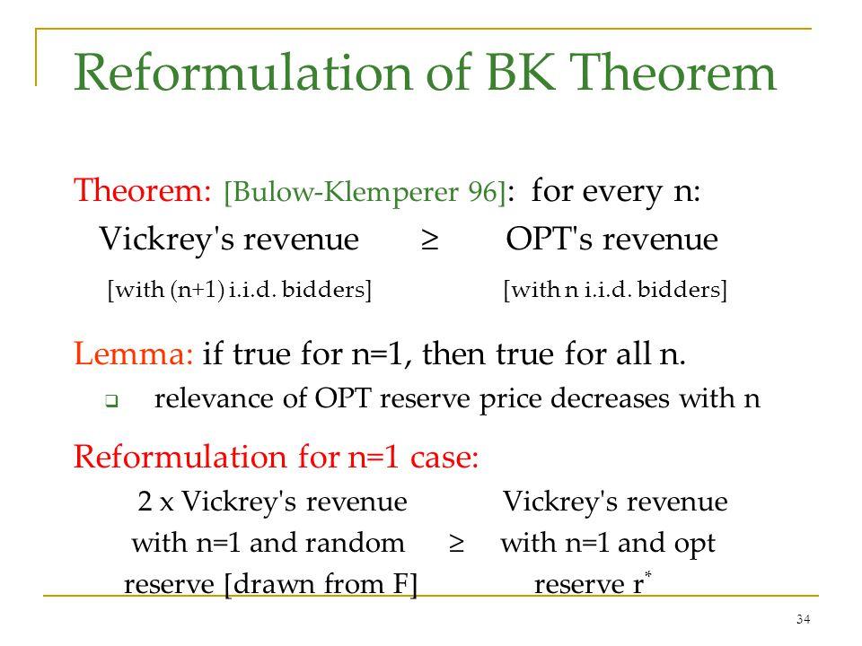 34 Reformulation of BK Theorem Theorem: [Bulow-Klemperer 96] : for every n: Vickrey's revenue OPT's revenue [with (n+1) i.i.d. bidders] [with n i.i.d.