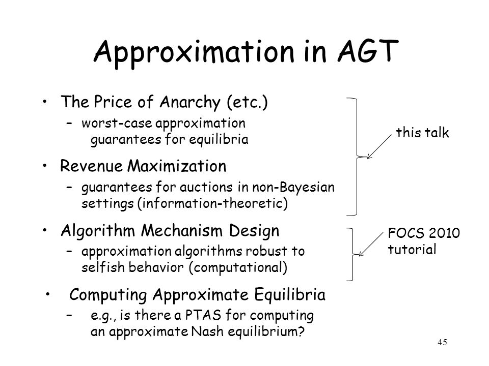 45 Approximation in AGT The Price of Anarchy (etc.) –worst-case approximation guarantees for equilibria Revenue Maximization –guarantees for auctionsi